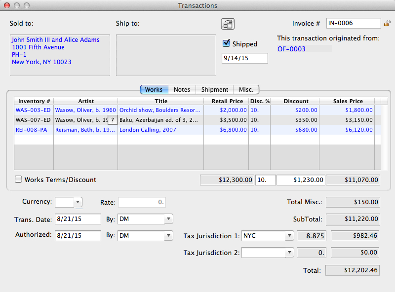 Invoice Transaction Record View