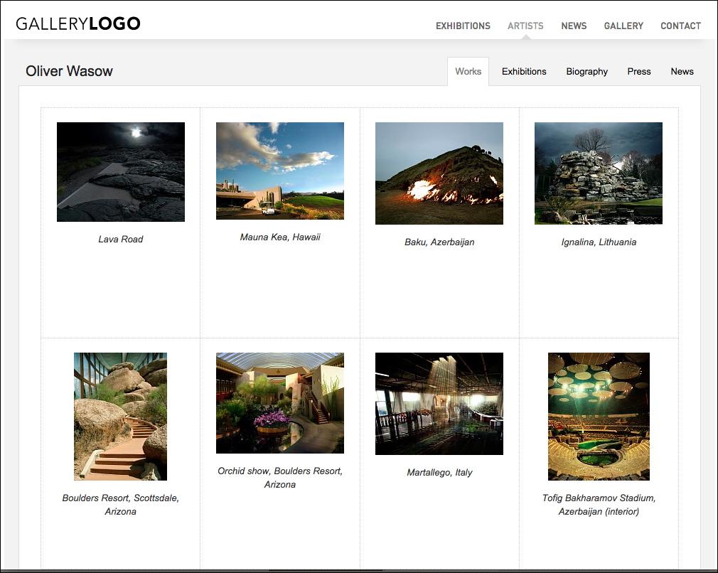 Standard Website Template Artist Works View