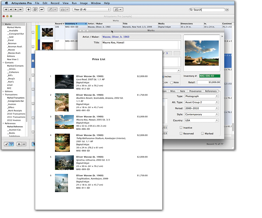 Art Gallery Software Artsystems Art Gallery Database